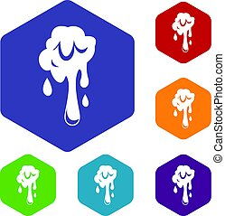Dripping slime icons set hexagon isolated vector...