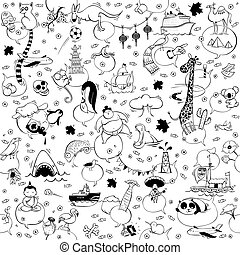 Around the World seamless pattern in black and white