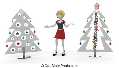 3d girl with Christmas trees