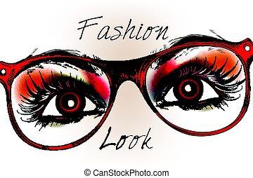 Fashion hipster background with beautifulbbrown eyes in red...