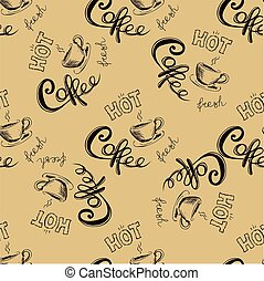 seamless doodle coffee pattern ,hand drawn vector...
