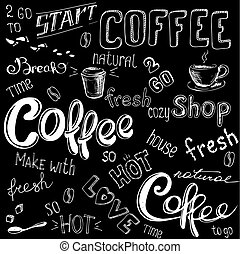 Coffee doodle background, hand drawn on black,vector...