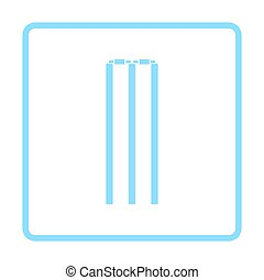 Cricket wicket icon. Blue frame design. Vector illustration.