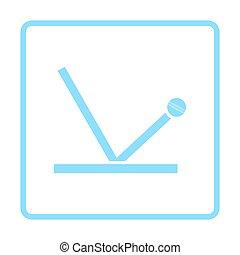 Cricket ball trajectory icon. Blue frame design. Vector...