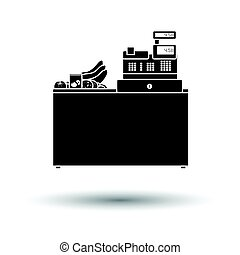 Supermarket store counter desk icon. Black background with...