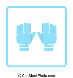 Pair of cricket gloves icon. Blue frame design. Vector...
