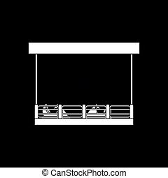 Bumper cars icon. Black background with white. Vector...