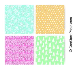Hand drawn doodle abstract seamless pattern set. Collection of colorful backgrounds with different freehand shapes.