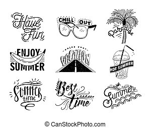 Vector set of hand drawn lettering with inscriptions Enjoy,...