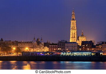 Antwerp night view - Beautiful cityscape of the skyline of...