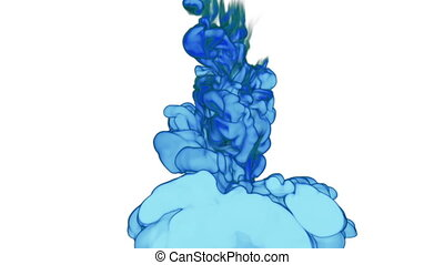 Close-up blue Ink or smoke in water move in slow motion with alpha mask. VFX Cloud of Ink for transitions, background, overlay and effects. For alpha channel use alpha matte. 3d Ink background Ver 16