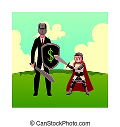 Businessman as knight with helmet, sword, shield, and armor bearer
