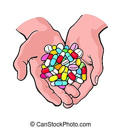 Two cupped hands holding handful, pile of colorful pills,...