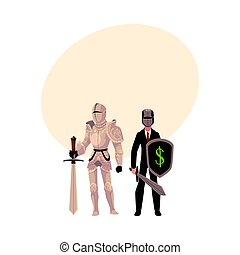 Medievel and modern, businessman knight in metal armor and business suit