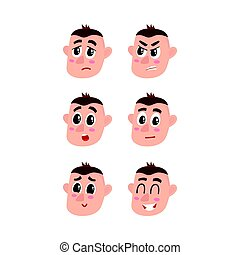 Face expressions set - upset, angry, surprised, doubtful,...