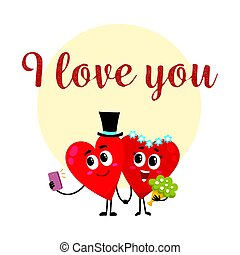 I love you - greeting card design with heart characters...