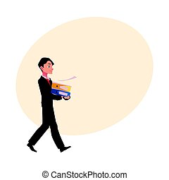 Young businessman going somewhere, carrying folders, cartoon...