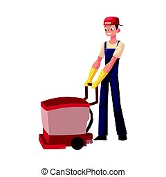 Cleaning service boy, man using floor cleaning machine, front view