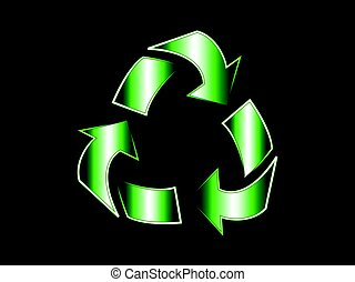 recycle symbl vector illustration with green gradient and...