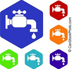 Water tap icons set hexagon isolated vector illustration