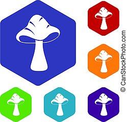 Big mushroom icons set hexagon