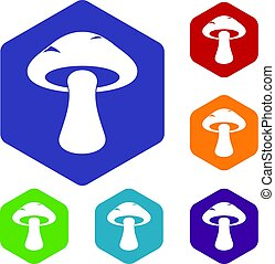 Tubular mushroom icons set hexagon isolated vector...
