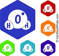 Water molecule icons set hexagon