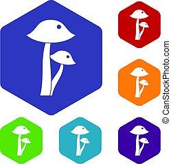 Honey fungus icons set hexagon isolated vector illustration