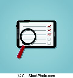 Search checklist on the tablet - Flat realistic business...