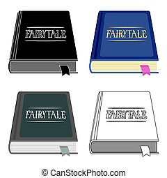 Book with fairytales icon in cartoon style isolated on white...