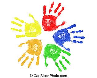 színes, kéz, nyomtatványok
