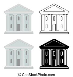 Theatre building icon in cartoon style isolated on white...