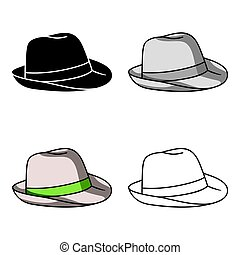 Panama hat icon in cartoon style isolated on white...
