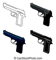 Handgun icon in cartoon style isolated on white background. Police symbol stock vector illustration.