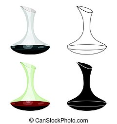 Wine decanter icon in cartoon style isolated on white...