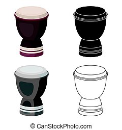 Goblet drum icon in cartoon style isolated on white...