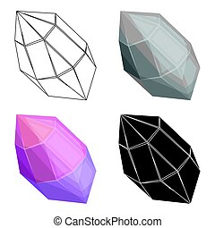 Rough gemstone icon in cartoon style isolated on white...