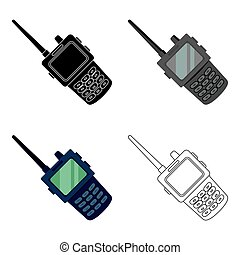 Handheld transceiver icon in cartoon style isolated on white...