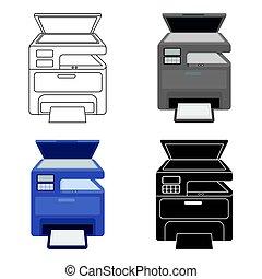 estilo, impresora, Ilustración, símbolo, aislado,...