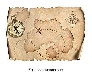 karta, gammal, isolerat,  Illustration, kompass, värld, 3