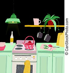 Hand drawn home cooking in cartoon style. Colorful doodle kitchen interior with kitchenware, kettle, oven, stove, utensils. Vector illustration.