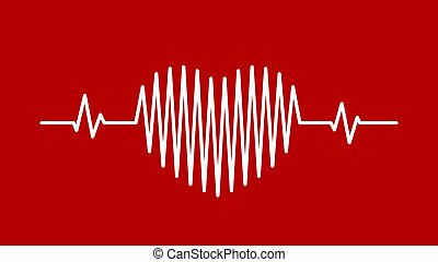 Heart pulse sound wave icon background