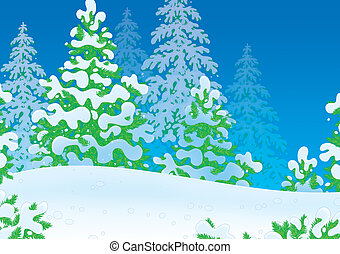 Snowy winter forest - Illustration of a snow-covered wood...