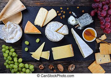 authentic french Cheese plate, top view