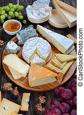 set of authentic french Cheese on plate