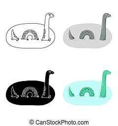 Loch Ness monster icon in cartoon style isolated on white...