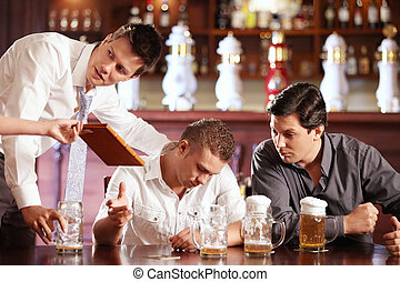 Your account - Drunk man stretches out from the waitress