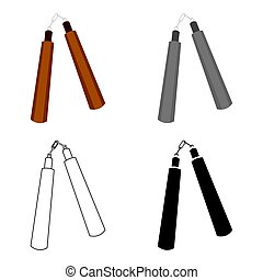 Nunchuck icon cartoon. Single weapon icon from the big ammunition, arms set.