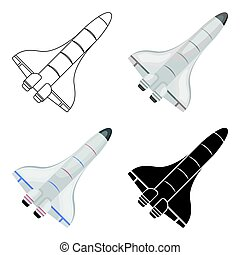Space shuttle icon in cartoon style isolated on white background.