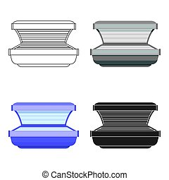 Tanning bed icon in cartoon style isolated on white background.
